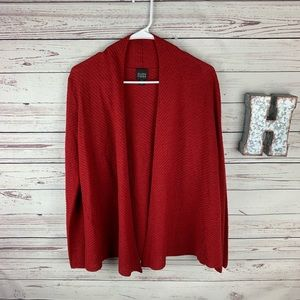 Eileen Fisher Red 100% Wool Cardigan Size XS !